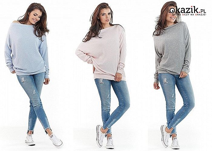 Oryginalny modny sweter
