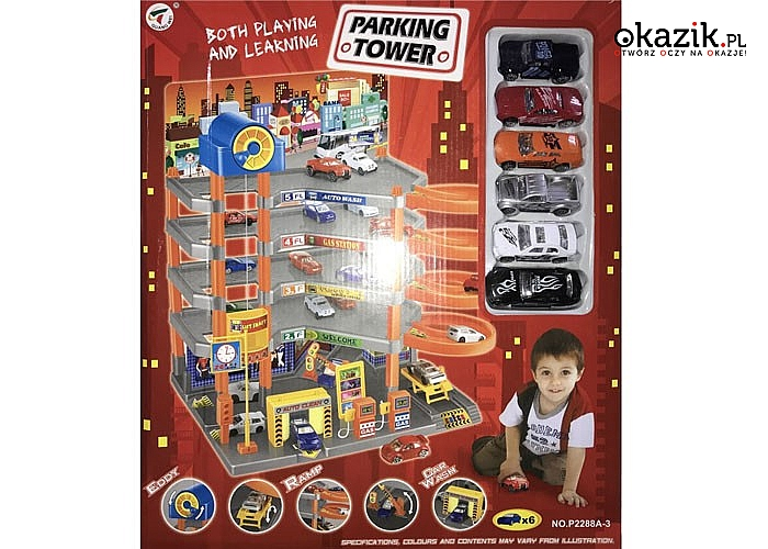 Wielopoziomowy garaż z autkami