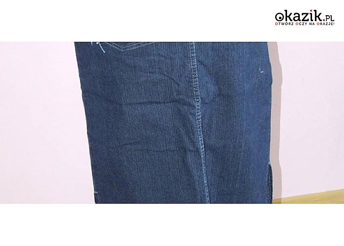 36295169 Długa SPÓDNICA jeansowa ze wzorkiem! Idealna do koszul i...