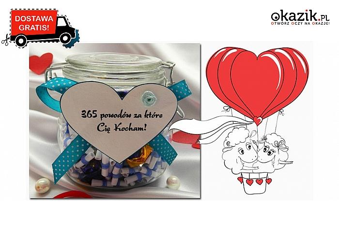 Słoiczek z karteczkami- 365 powodów dla których Cię kocham! Przesyłka GRATIS (99 zł)
