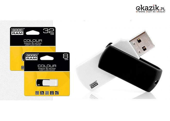 PENDRIVE GoodRam Colour w wersji Black & White. Pojemność 16 GB lub 8 GB.  (od 19 zł)