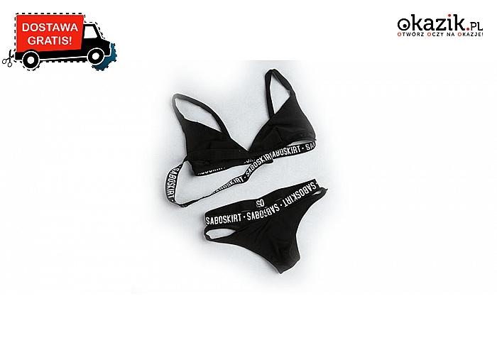 b1e6068a89b19e Modny czarny strój kąpielowy z paseczkami z nadrukiem. Różne rozmiary .Hit  Sezonu! (