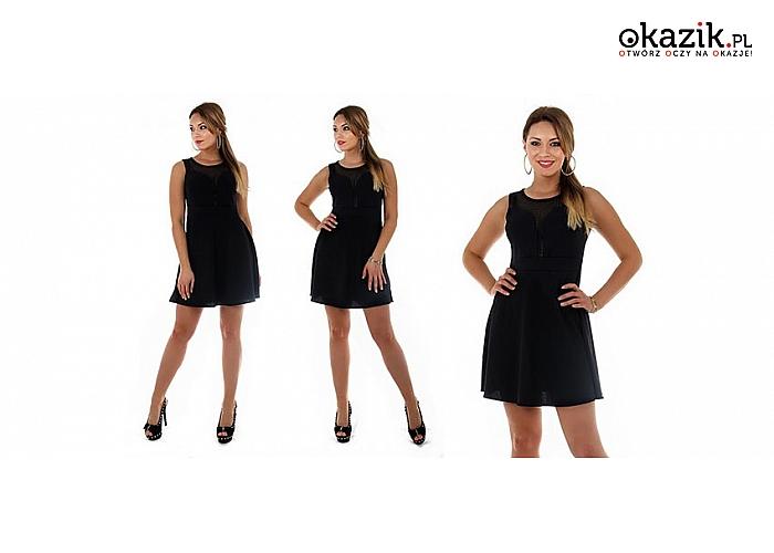 134773a194 Elegancka czarna rozkloszowana sukienka z koronką. Kobiecy fason.