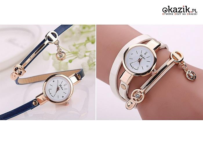 Bardzo dobryFantastyczny Zegarek damski na niebanalnym, długim pasku z ozdobami.... EM39