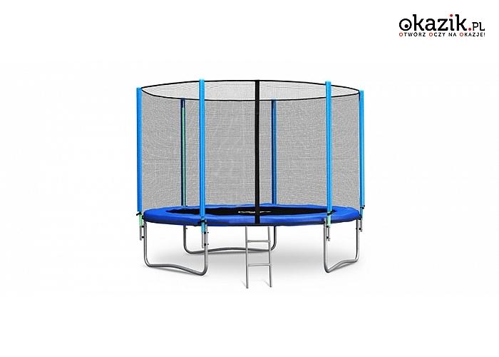 Ogrodowa trampolina z akcesoriami i drabinką. Średnica 312 cm (529 zł)