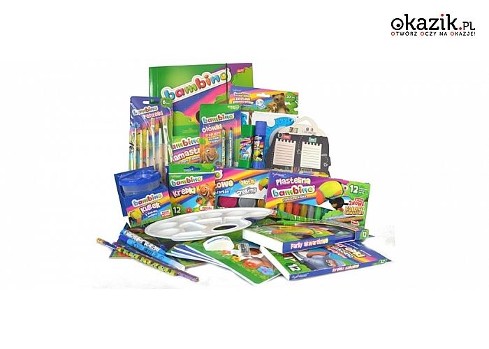 Bambino - wyprawka szkolna dla dzieci: bardzo duża ilość elementów i przyborów szkolnych + dodatkowe gratisy! (99 zł)