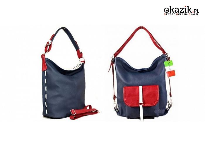 bfb5c7e04afae Wielofunkcyjne torebki skórzane w marynarskim stylu  granatowo – biało –  czerwone. Torebka 2w1 lub