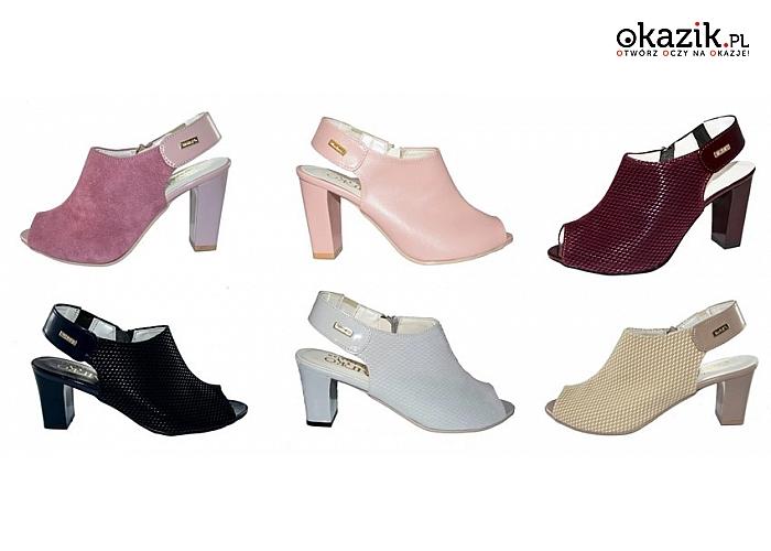 5c03c9aecf32e1 Eleganckie sandały damskie na obcasie typu słupek. Różne kolory i wzory.  (84,
