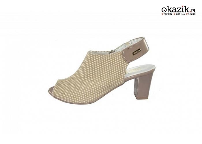 3c6a0da88a16e4 sandały damskie na obcasie – słupku, z ekoskóry, wzór: beżowe - ryż, obcas:  6 cm