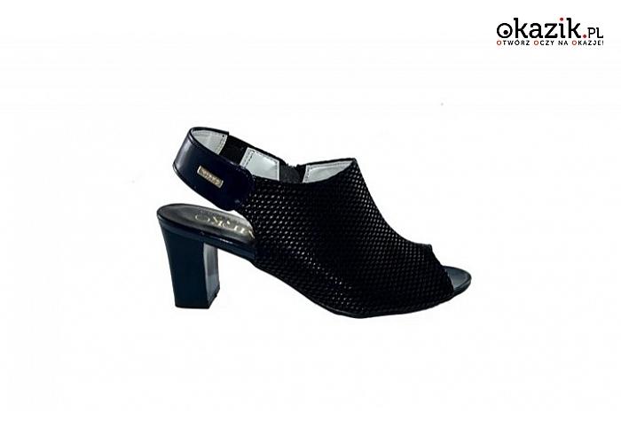 9426b726a39cf9 sandały damskie na obcasie – słupku, z ekoskóry, wzór: granatowe łuski,  obcas: 6 cm