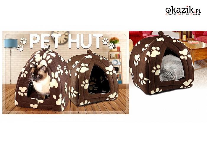 DOMEK-LEGOWISKO dla małego domowego zwierzaka! Wykonany z polaru, funkcyjny, łatwy do składania i czyszczenia.