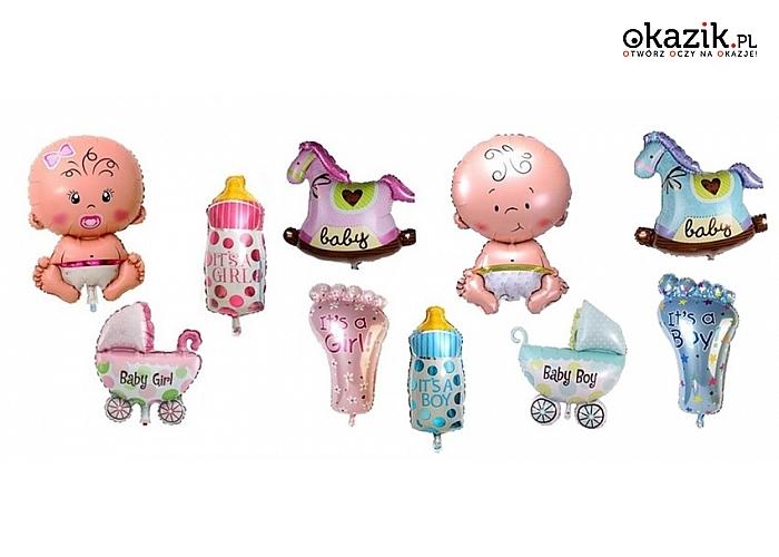 Ozdobne balony na przyjęcia z okazji narodzin, chrztu lub roczku, wersje dla chłopców lub dziewczynek. (35 zł)