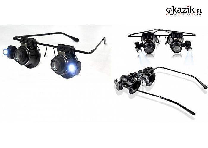 Precyzyjne okulary powiększające. Z 20-krotnym powiększeniem