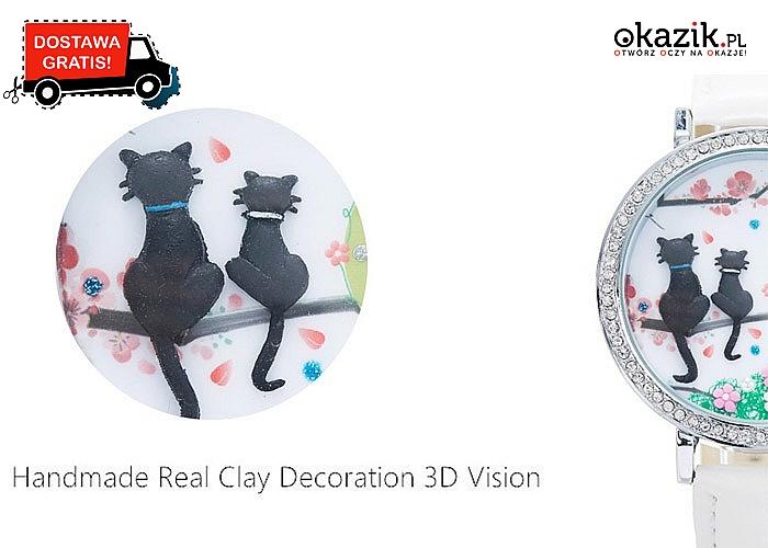 ZEGAREK z motywem kotów dla małej i dużej kobiety. Dostępne 2 modele i kilka kolorów. Wysyłka GRATIS