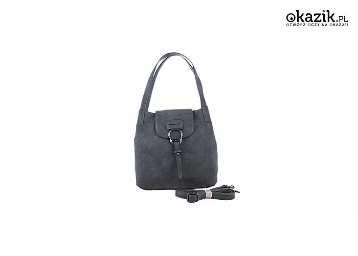 28559cef28a7f Elegancka szara torebka typu worek / listonoszka, znanej marki MONNARI!