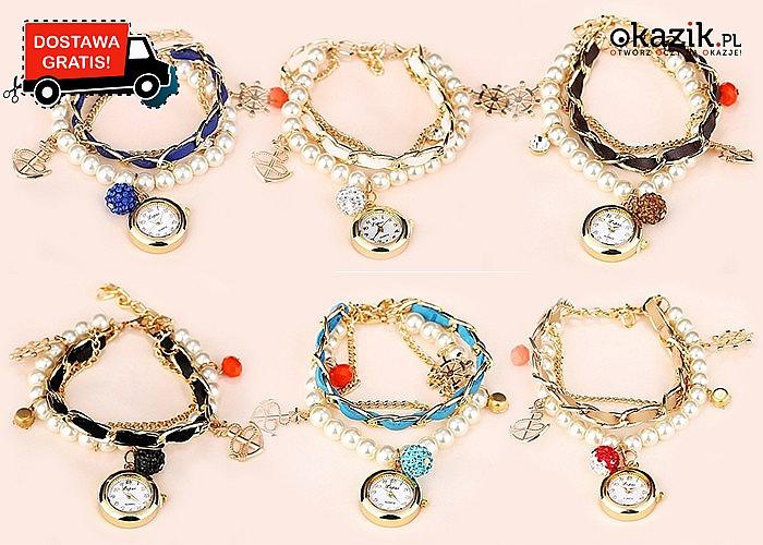 Efektowna bransoleta z charmsami i zegarkiem! 7 kolorów do wyboru
