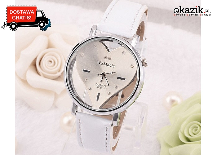 Subtelny zegarek z przezroczystą obudową i tarczą w kształcie serca