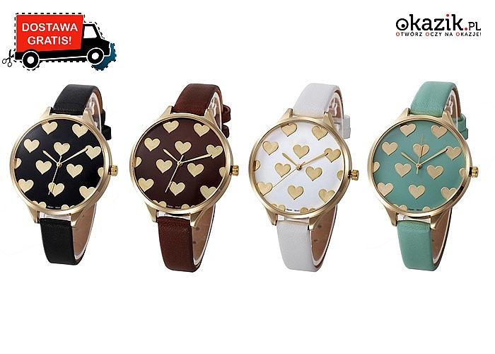 Przepiękny zegarek z sercami! Doskonały na prezent! Miłosne przedstawienie elegancki i klasy!
