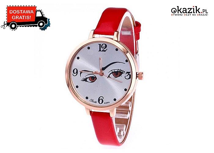 Niezwykle kobiecy i elegancki zegarek damski! Śliczne oczy które zwrócą uwagę każdego! Mechanizm kwarcowy!