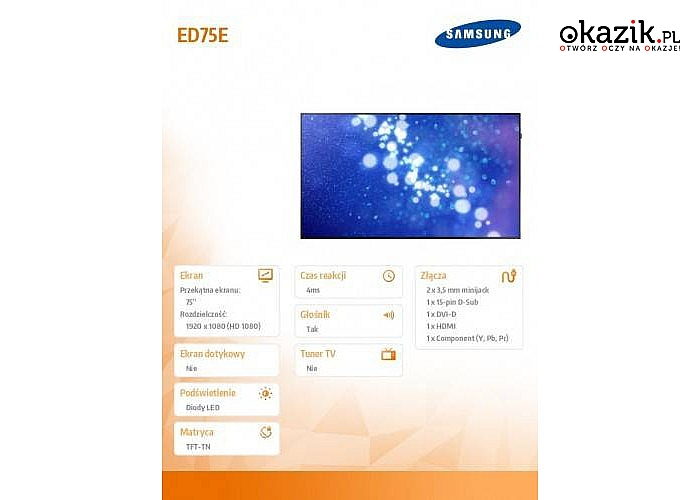 Telewizor znanej marki Samsung: 75' ED75E