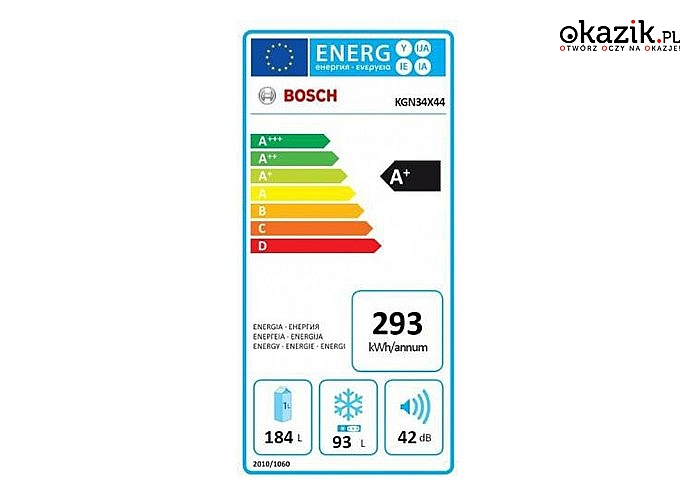 Bosch: Chłodziarko-zamrażarka KGN34X44