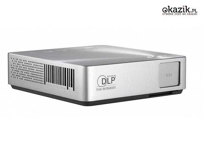 Asus: S1 Projektor LED/DLP/WVGA/200AL/1000:1/2W speaker/HDMI/MHL/USB Port for Charge (1A@5V)/1.82kg/Silver
