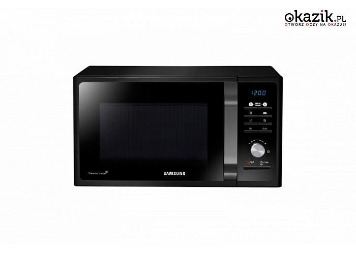 Kuchenka mikrofalowa MG23F301TAK marki Samsung. Moc 800 W, grill 1100 W i pojemność 23 L