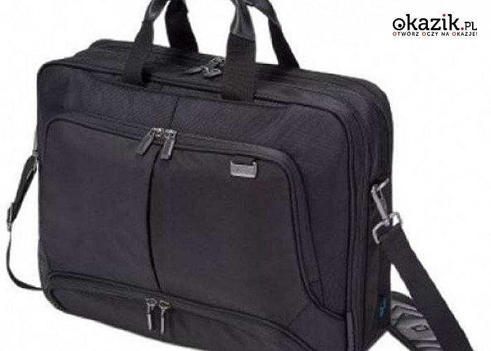 "Top Traveller PRO 15-17.3"" Professional Bag 15x43x33 cm marki DICOTA. Posiada pasek na ramię i uchwyt do ręki"