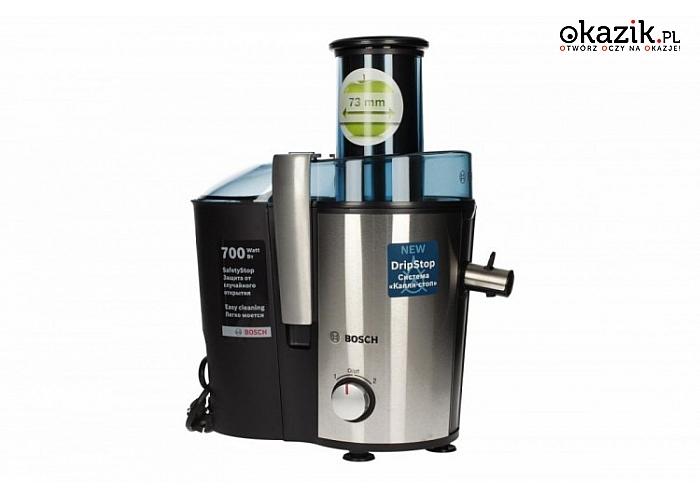 Sokowirówka MES 3500 BOSCH o mocy 700 W. W zestawie zbiornik na sok, na miąższ i szczoteczka do łatwego czyszczenia sita