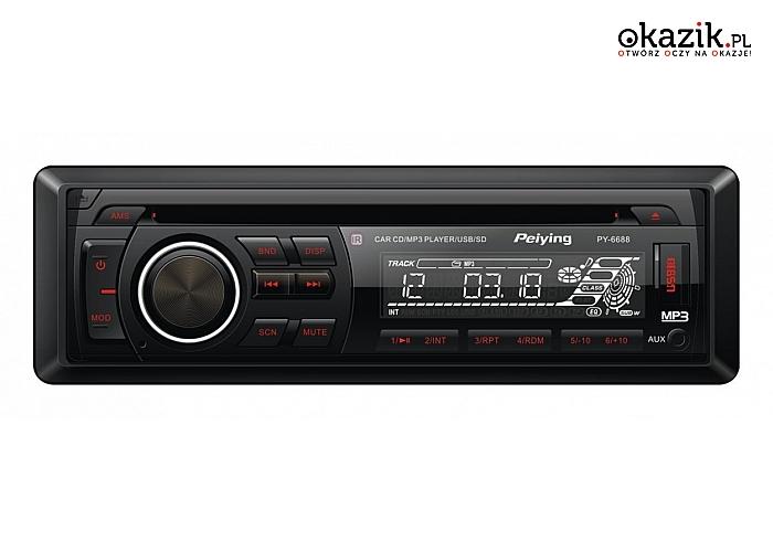 Peiying: Radio samochodowe model PY6688 , MP3 , USB, CD