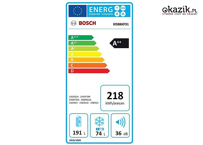 Chłodziarko-zamrażarka KIS86KF31 marki Bosch. Pojemność zamrażarki 74 L, chłodziarki 191L+sterowanie elektroniczne