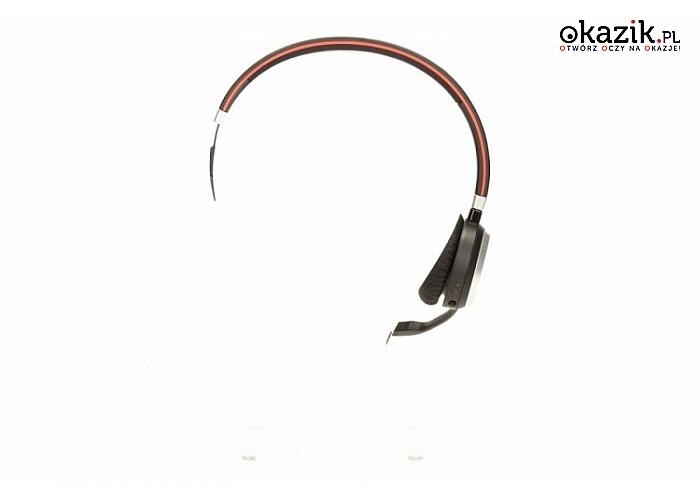 Evolve 65 Mono, MS Jabra z technologią Bluetooth, muszlami nausznymi, regulacją głośności i odbieraniem połączeń