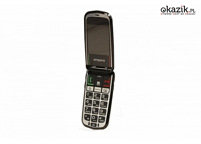 Telefon GLAM V34 BLACK Emporia. Alarmowe połączenie, HAC: M4/T4, 3 klawisze funkcyjne, latarka, Bluetooth