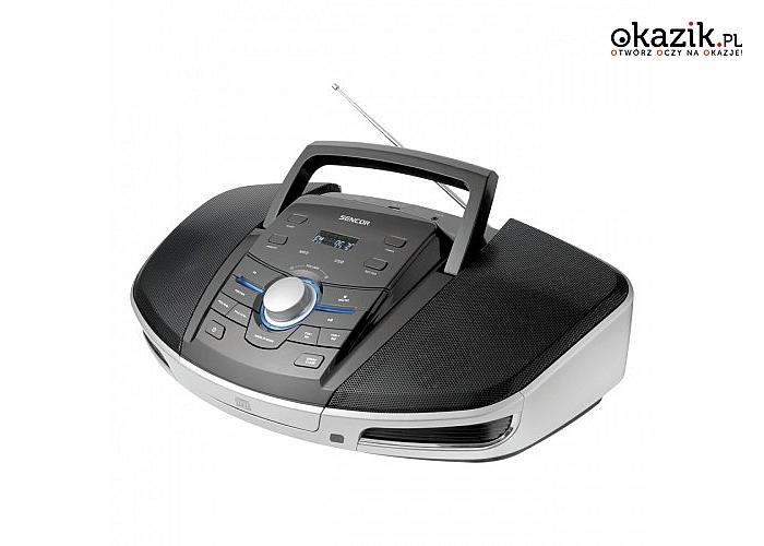 Radioodtwarzacz SPT 280, CD/CD-R/CD-RW/MP3/USB, budzik od Sencor. Moc głośników 16 W+tuner FM