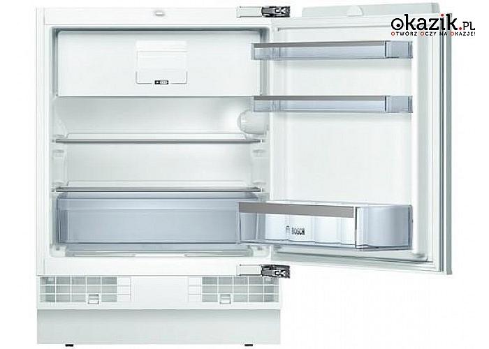 Chłodziarko-zamrażarka KUL15A65 marki Bosch. Pojemność zamrażarki 15 L, chłodziarki 108 L i klasa energetycznaA++