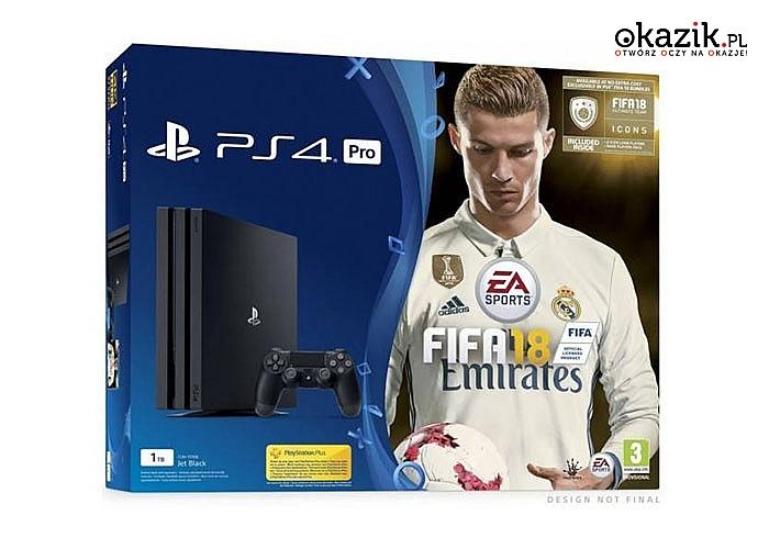 Sony: Playstation 4 1TB PRO + Gra FIFA 18