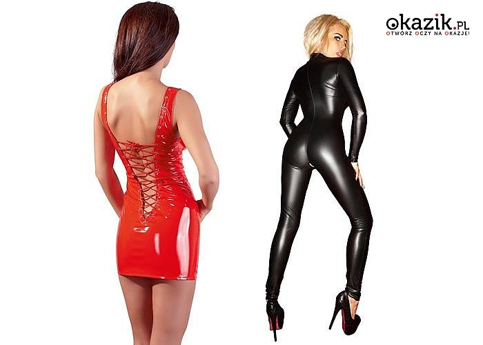 Mini sukienka lub całościowy kostium Z LATEKSU dla odważnej kobiety lubiącej robić wrażenie na mężczyznach