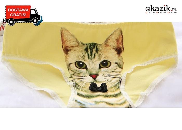 Majtki damskie – figi z nadrukowanym kotem 3D, różne kolory. Wysyłka GRATIS!