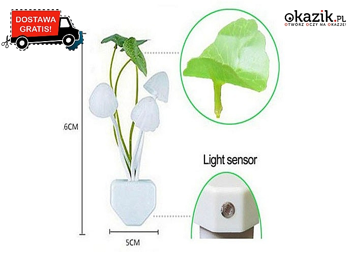 LAMPKA LED w formie grzybków z listkami. Bardzo niskie zużycie energii i darmowa przesyłka!
