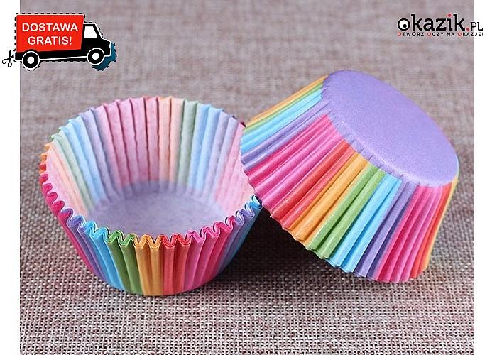 Papierowe osłonki na muffinki. 100 sztuk  w zestawie
