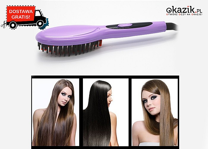 Elektryczna szczotka + prostownica 2w1. Natychmiastowy efekt pięknych włosów!