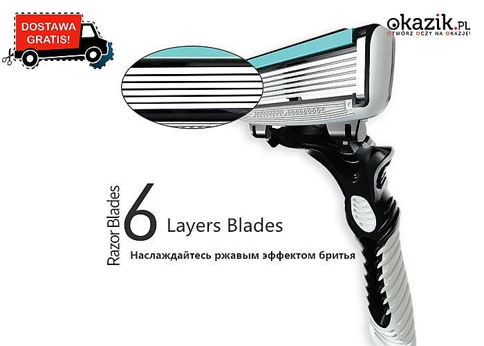 Precyzyjna maszynka do golenia. 6 ostrzy! Natychmiastowy efekt gładkiej skóry!