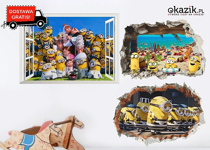 """Naklejka 3D """"Minionki"""" na ścianę wyjątkowa dekoracja pokoju dziecięcego"""