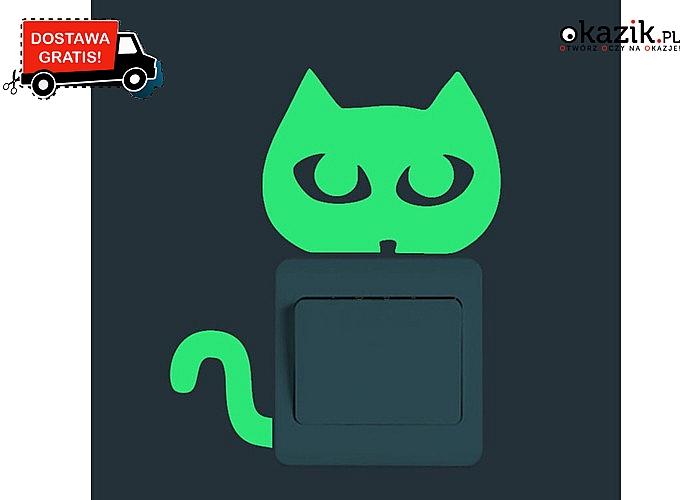 Odblaskowa naklejka na włącznik światła. Oryginalny wzór kotka.6 wariantów do wyboru