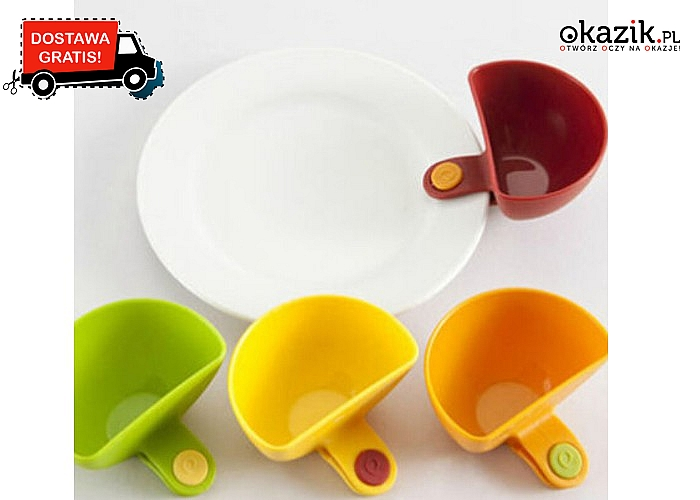 Oryginalne miseczki do ketchupu, dipu lub innych sosów do przekąsek. Różne kolory