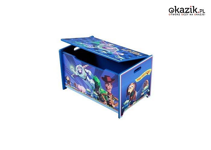 Drewniana skrzynia na zabawki Toy Story pomoże uporządkować chaos w pokoju dziecka