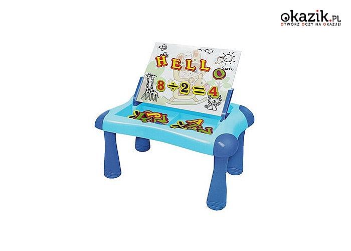 Stolik z tablicą magnetyczną kreatywna zabawka, rozwijająca i dająca wiele radości dziecku