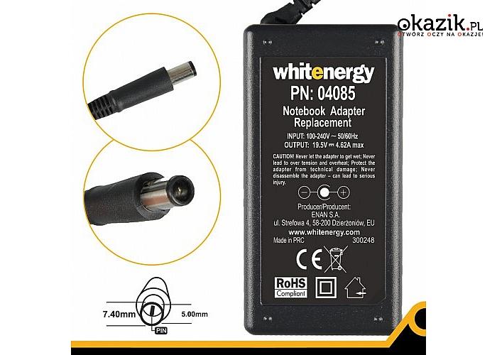 Whitenergy: Zasilacz 19.5V | 4.62A 90W wtyk 7.4*5.0mm + pin Dell (04085)