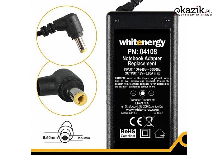 Whitenergy: Zasilacz (04108) 19V | 3.95A 75W wtyk 5.5*2.5mm 04108