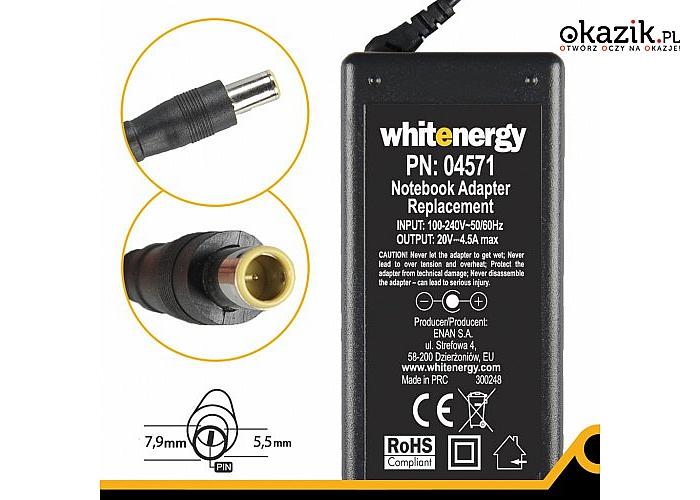 Whitenergy: Zasilacz 4571 20V | 4.5A 90W wtyk 7.9*5.5mm + pin IBM